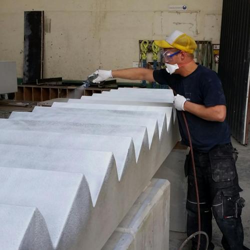 beton ou prefab protégé par polyane ou film de protection pelable